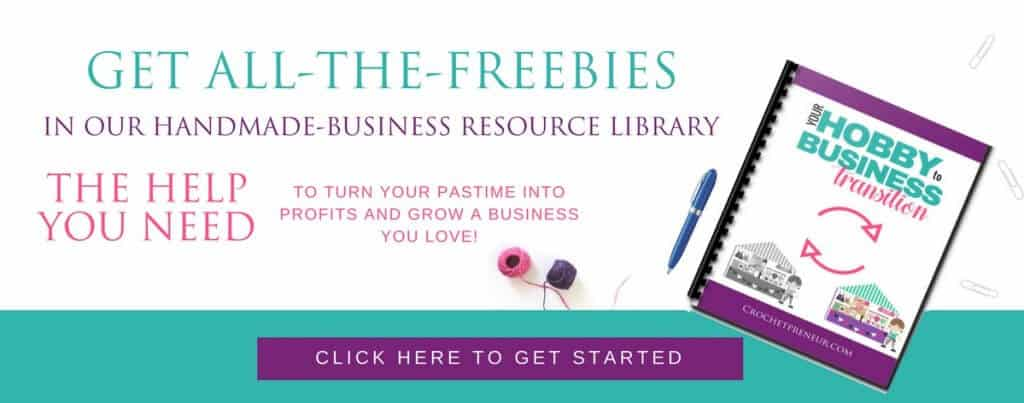 Crochet business tips and resources library signup