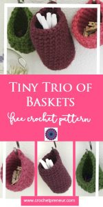 FREE CROCHET PATTERN | CROCHET BASKET PATTERN A trio of tiny crochet baskets are the perfect little organizational tools in the office, bathroom or craft room. The crochet pattern is free. Try them all!