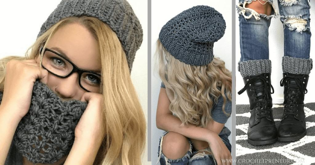 Collage of 3 images, a sample of a perfect product line with a woman wearing crocheted scarf, winter hat, and boot warmer