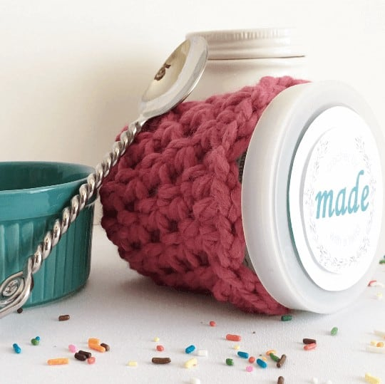 Photo of the Lip Pint Ice Cream Cozy on an ice cream bottle with a spoon and small bowl