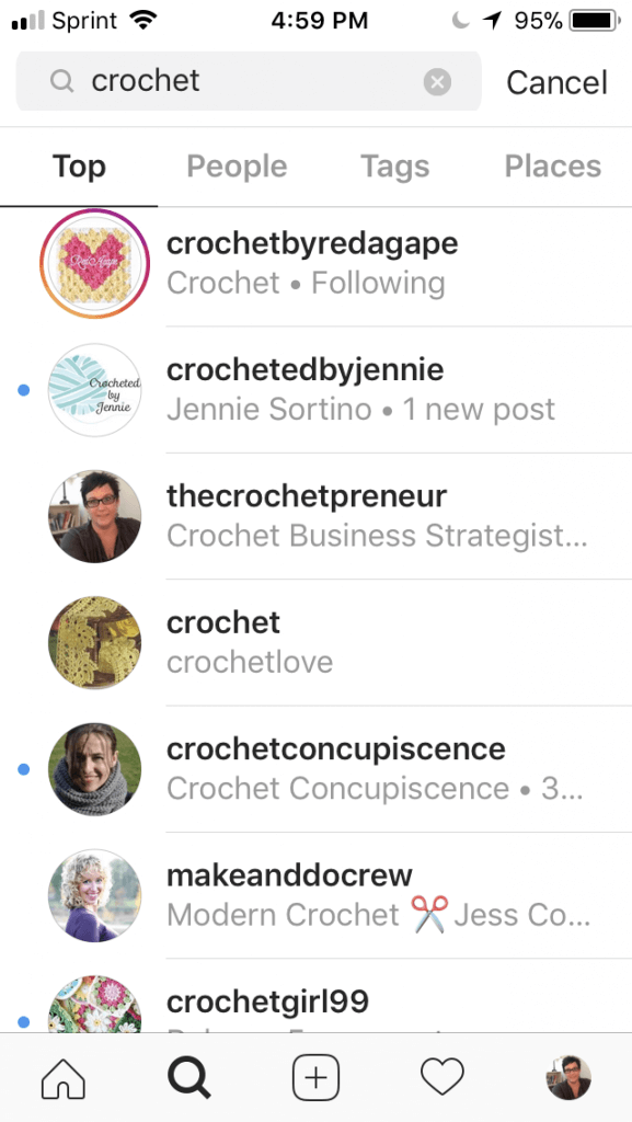 Photo sample of when you search crochet in Instagram