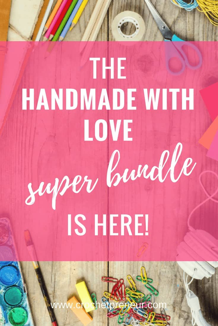 Pinterest graphic for The Handmade with Love Super Bundle is Here with a background photo of various art supplies