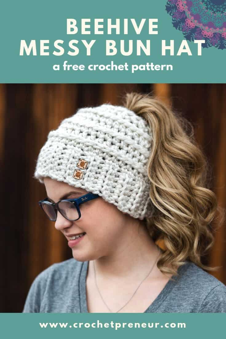 Free Crochet Pattern for the Chelsea Beehive Messy Bun Hat from Made with.  This post may include affiliate links d344700e022