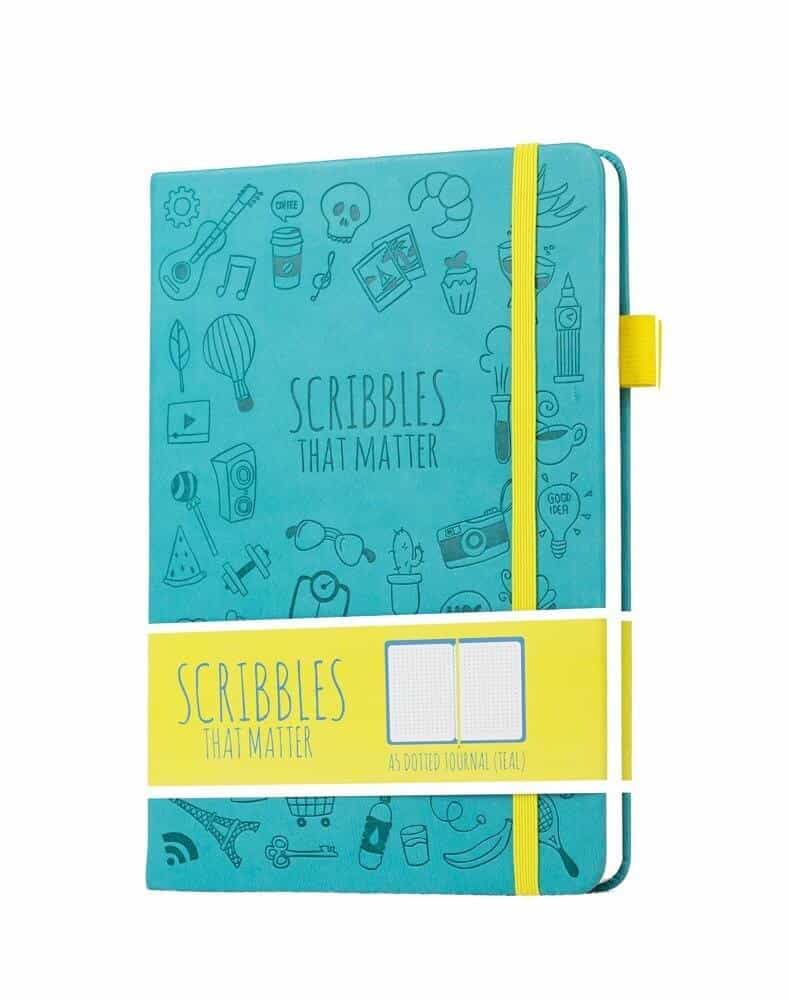 Photo of a blue and yellow Bullet Journal