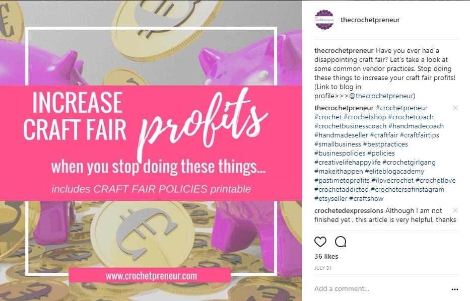 Instagram sample of Crochetpreneur's opt-in post linked to opt-in landing page