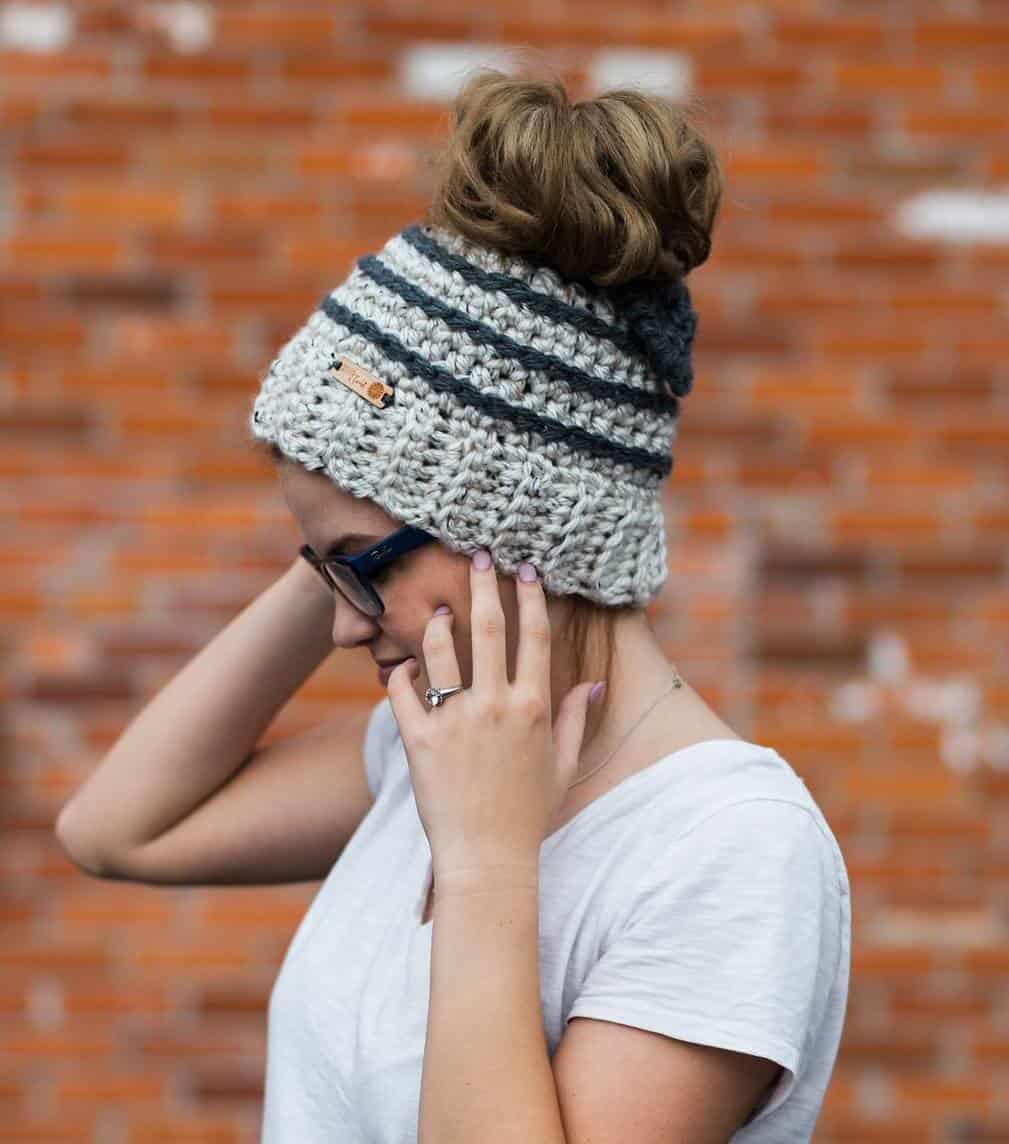 Free Crochet Pattern  Beehive Messy Bun Hat - Crochetpreneur 38cb5920451