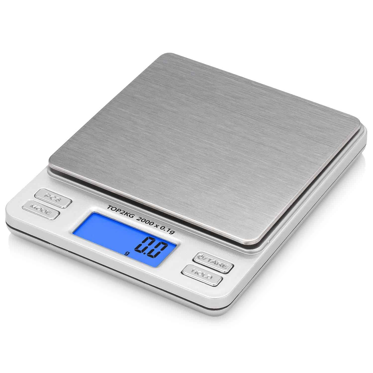 Photo of a postal scale with white background
