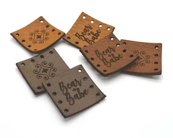 Photo of 6 leather product tags