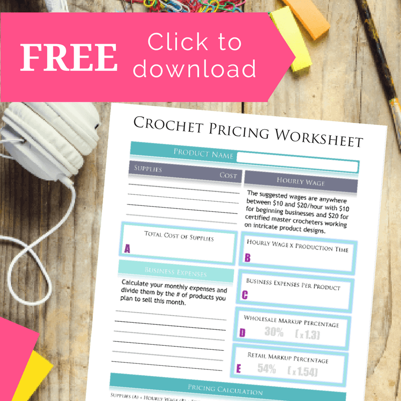 crochet pricing worksheet