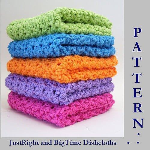 Photo of 5 folded crocheted dishcloths