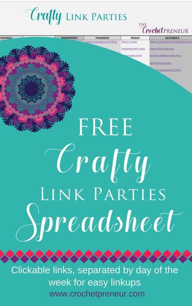 Pinterest graphic for FREE Crafty Link Parties Spreadsheet. Clickable links, separated by day of the week for east linkups