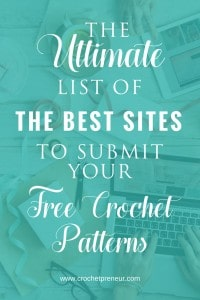 Perfect! I'm always looking for places to submit my free patterns. #crochetdesigner #freecrochetpattern #freecrochetsites #freepatternsites #submitcrochetpattern #crochetbusiness #handmadebusiness #businesstips #crochetbiztips