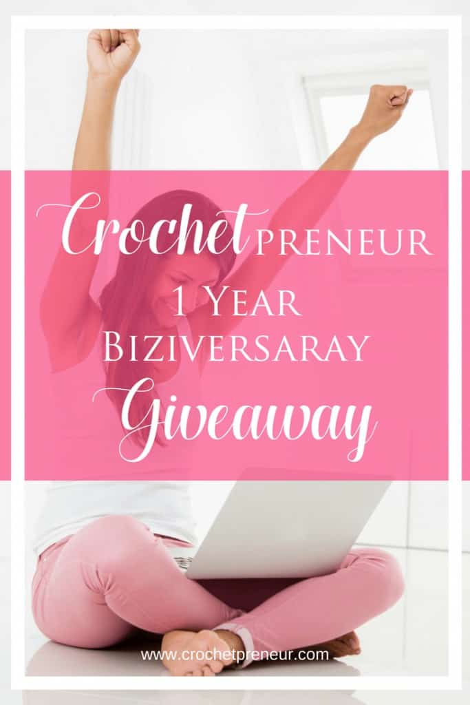 Pinterest graphic for Crochetpreneur 1 Year Biziversary Giveaway with a photo of a woman with a laptop on her lap