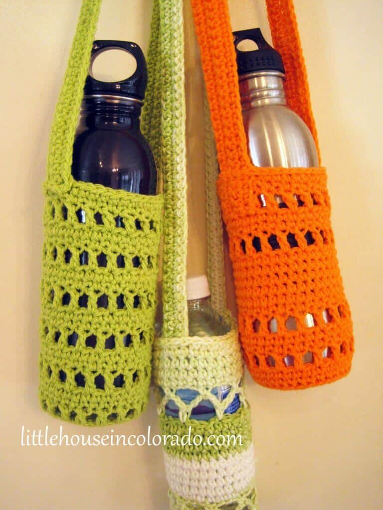 Photo of 3 hanging Water Bottle Cozy with water bottles