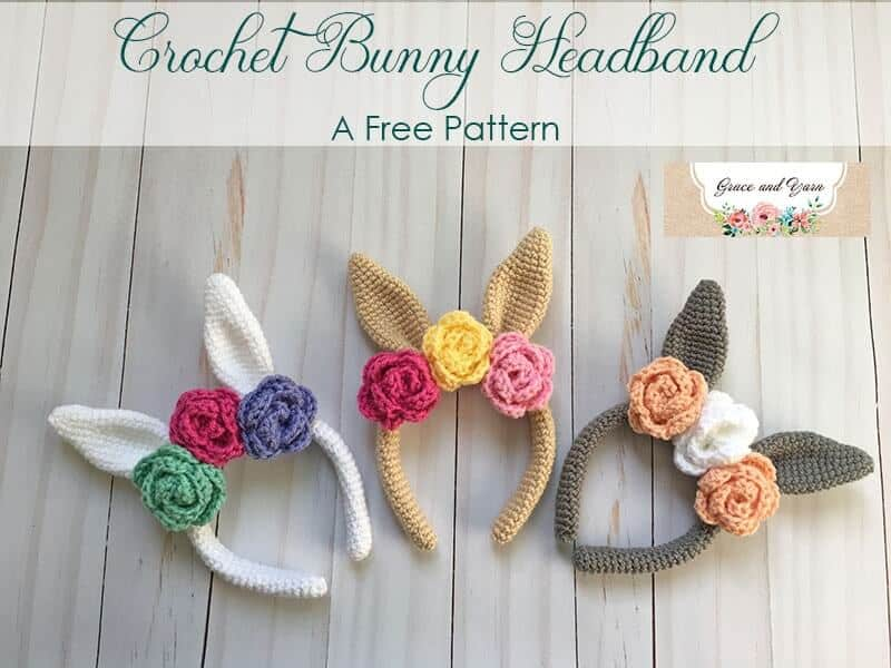 Photo of 3 crocheted Bunny Headbands with flower details a FREE Pattern