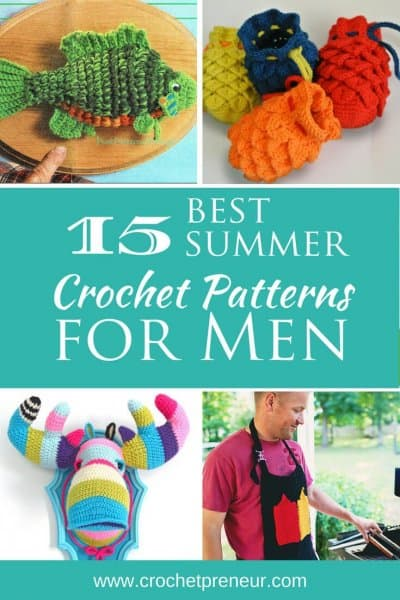 These are awesome! Finally some summer craft fair projects for men. #summercrochet #crochetpatternsforsummer #crochetpatternsformen #fathersday #fathersdaycrochet #summercrochetformen