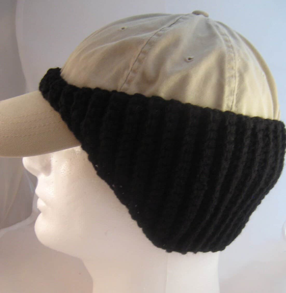 Crochet Pattern for Baseball Cap Ear Warmer
