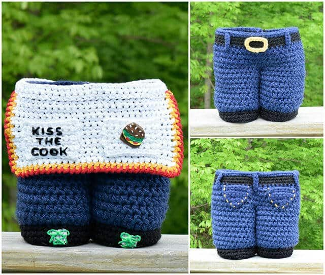 A collage photo with 3 images of the crocheted BBQ Gift basket in blue jeans design