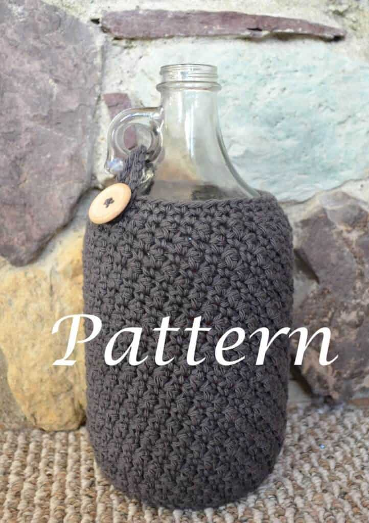 """Photo of a crocheted beer growler cozy in a bottle with the word """"Pattern"""""""
