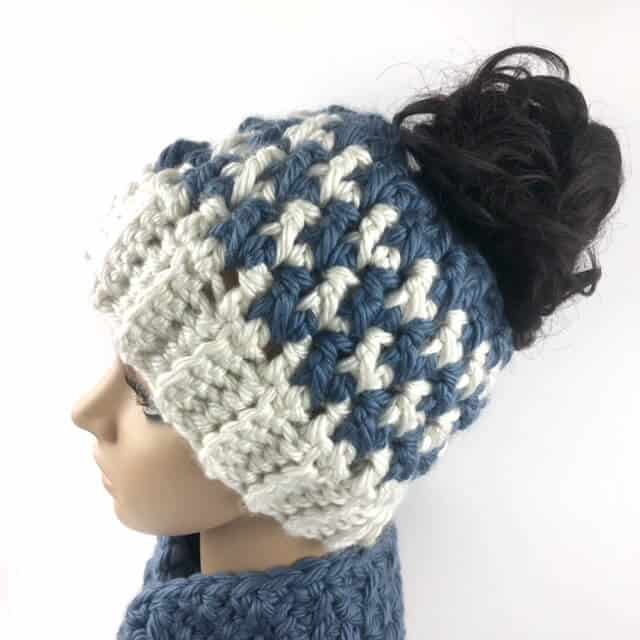 Side view of Kaydence Houndstooth Ponytail Hat Crochet Pattern