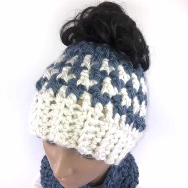 Closeup top view of the Kaydence Ponytail Hat Crochet Pattern