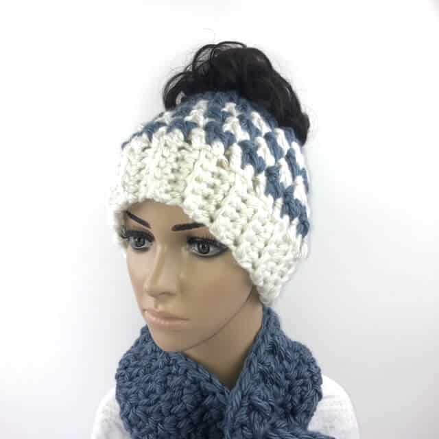 Image of the Kaydence Ponytail Hat Crochet Pattern on a mannequin