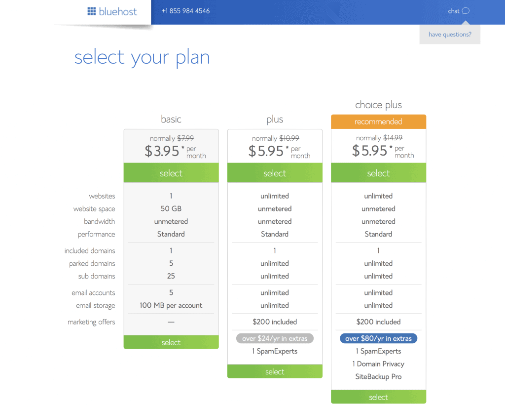 Photo of available plans on Blue Host