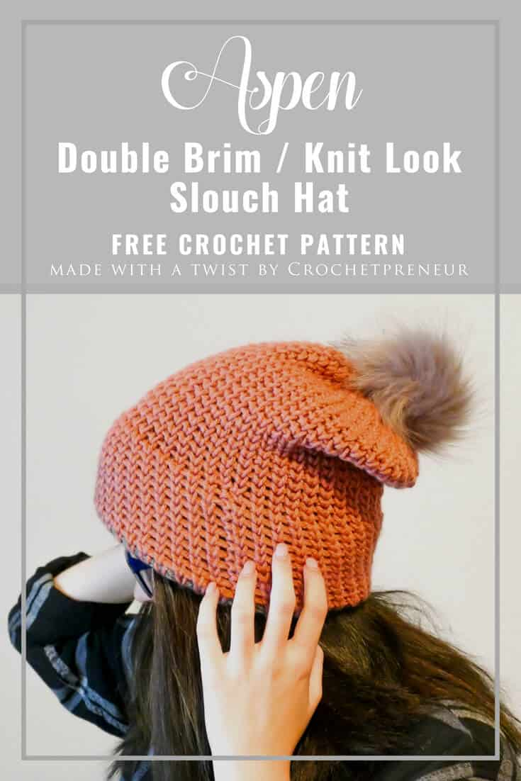 OMG This double brim knit look beanie free crochet pattern is just what I've been looking for. I see so many knit versions, but haven't found a crocheted one that I love. Yay! #crochetpattern #knitlookbeanie #knitlookcrochet #doublebrimhat #doublebrimbeanie #doublebrimcrochet #freecrochetpattern