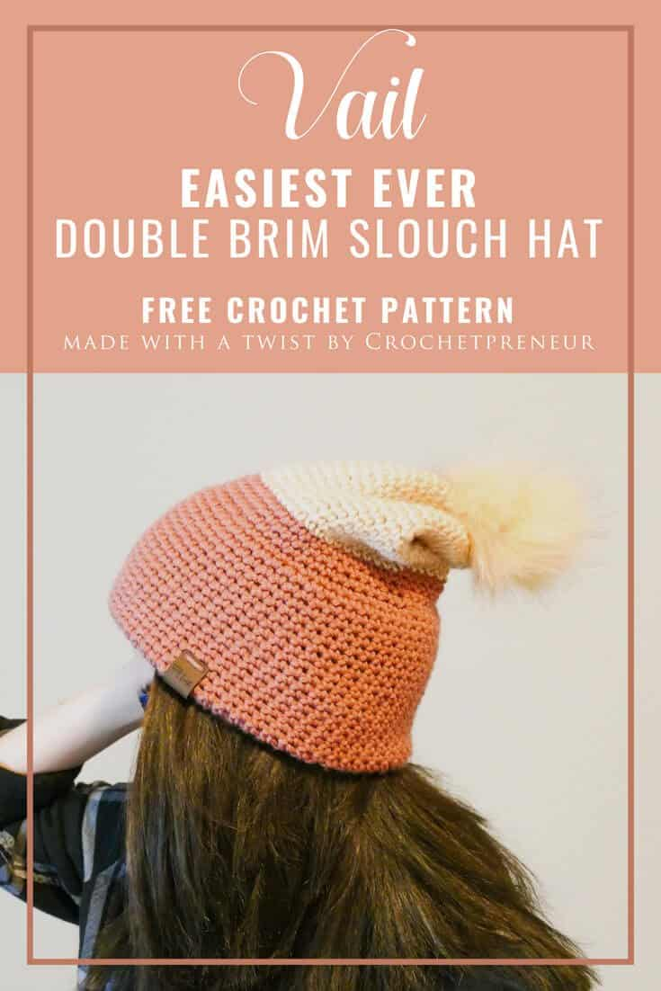 Love the look of knit, but don't know how? This easy double brim slouch hat free crochet pattern will walk you through creating a double-wide double-thick double-brim hat the easy way. Suitable for beginners, you're going to want to make one in every color combination! #doublebrimcrochet #crochetdoublebrim #doublebrimhat #doublebrimcrochet #beginnercrochet #freecrochetpattern
