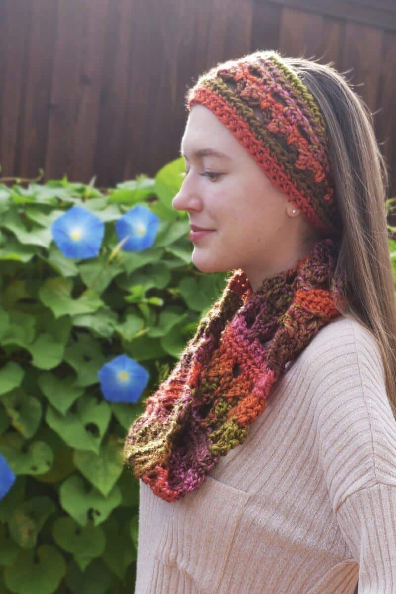 Side view of a woman wearing the Autumn Adventure Cowl FREE Beginner Crochet Pattern