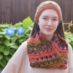 Photo of a woman wearing the Autumn Adventure Cowl paired with headband