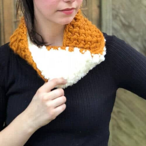 Photo of a woman wearing the crocheted Reversible Cozy Cowl