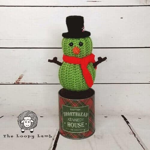 Photo of the crocheted Stanley the Cactus Snowman wearing a black top hat and red scarf standing on a tin can