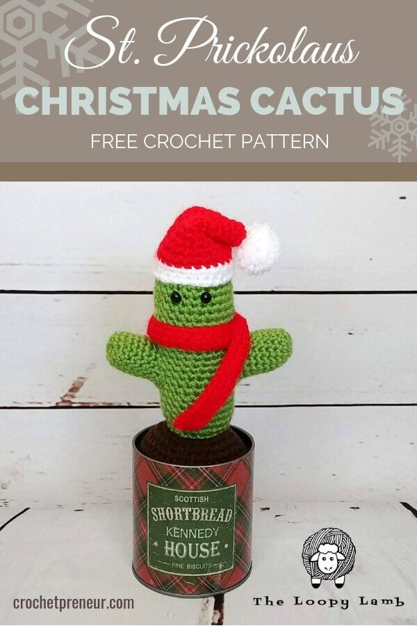 An amigurumi Christmas cactus crochet pattern...alll dressed up like Santa! Super easy to make and a darling addition to your holiday decor. #christmascactus #amigurumi #amigurumicactus #cactuscrochetpattern #christmascactuscrochetpattern