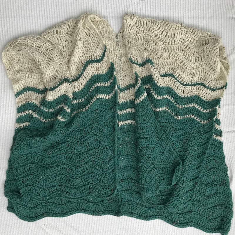 Photo of the finished crocheted Ripple Blanket Wrap