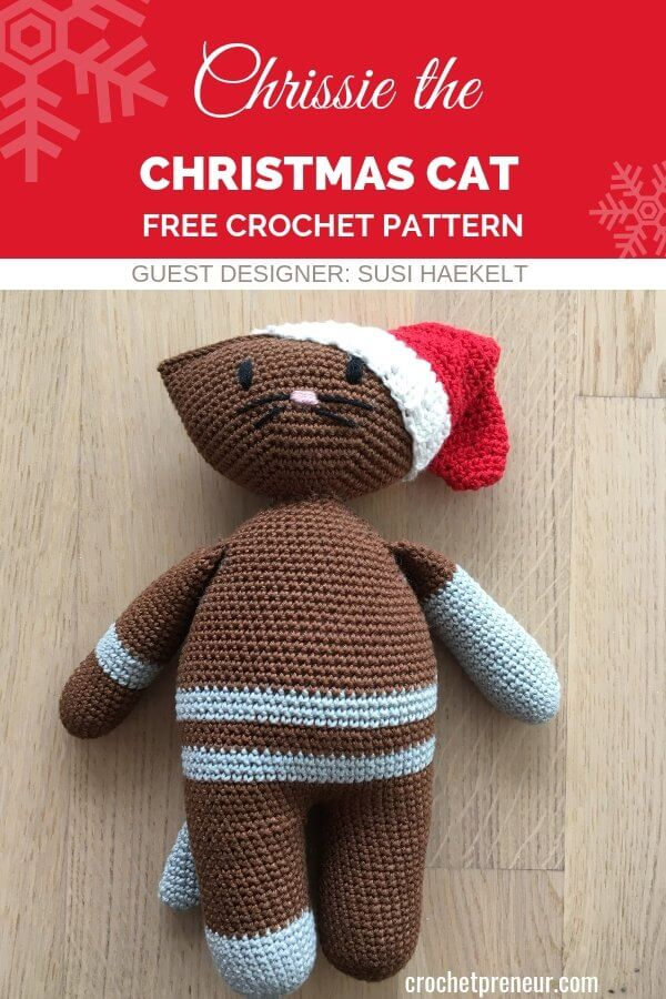 Pinterest image for Chrissie the Christmas Cat FREE Amigurumi Crochet Pattern