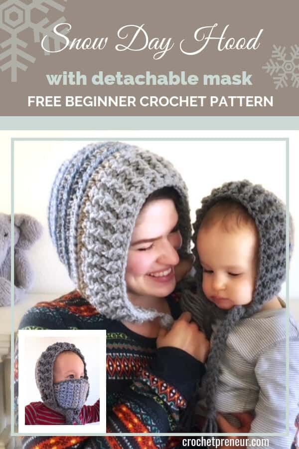 What a perfect solution for frozen cheeks! The Snow Day Hood with removable mask keeps your face warm even in the harshest freezing winds. The detachable mask makes it great for everyday wear, too! #crochethat #freecrochetpattern #crochethood #crochetmask #balaclava #crochetbabyhat #winterhatcrochetpattern #winterhat #winterhatwithmask #shovelinghat #warmwinterhat