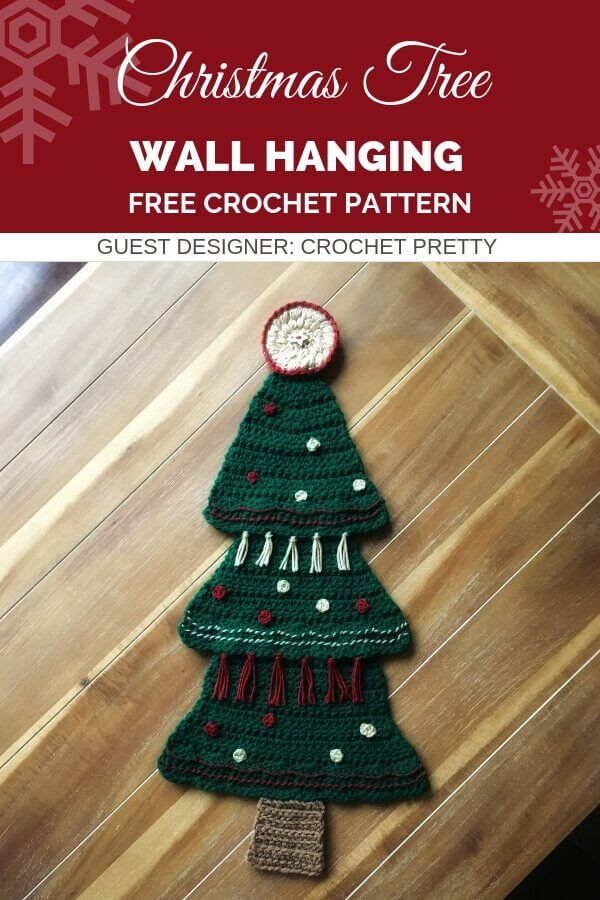 Pinterest graphic for Christmas Tree Wall Hanging FREE Crochet Pattern