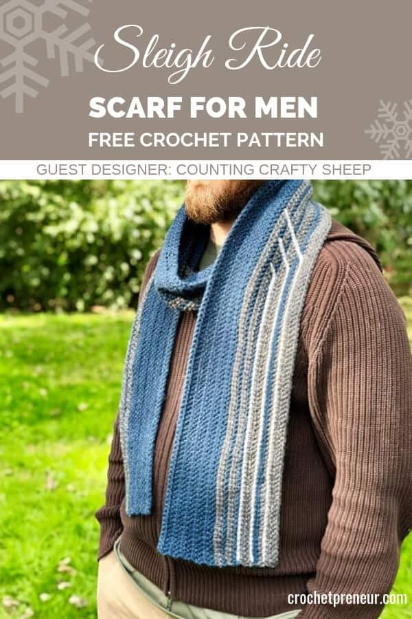 Pineterst graphic for unique and cool Sleigh Ride Scarf for Men FREE Crochet Pattern