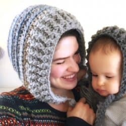 Photo of a mother and child wearing the Mommy and Me Snow Day Hood