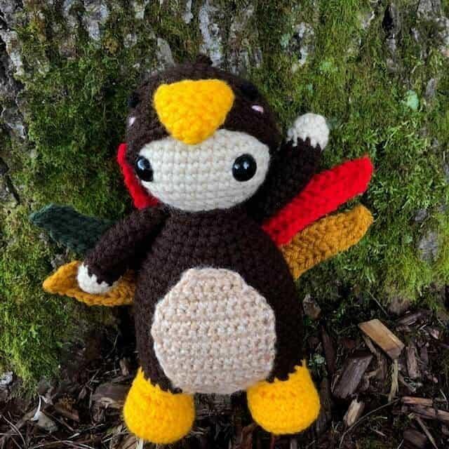 Photo of crocheted amigurumi Toby the Turkey