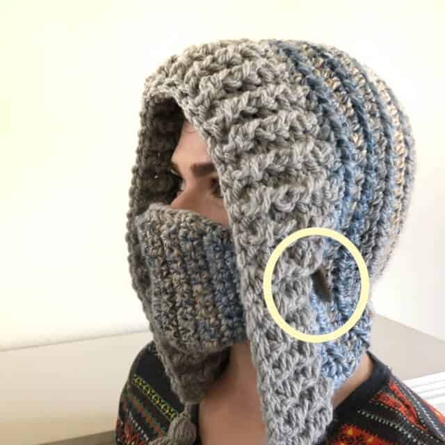 Sample photo for adding the mask on the crocheted winter hood