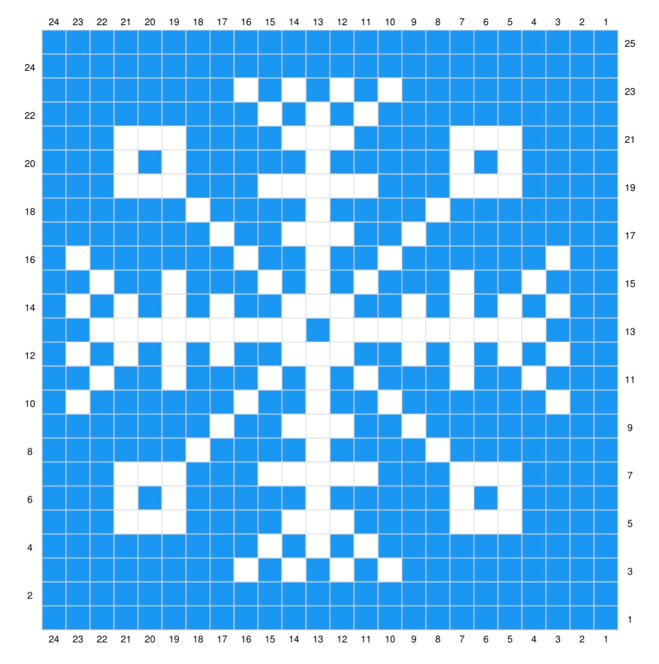 A closer photo of the chart for the snowflake design