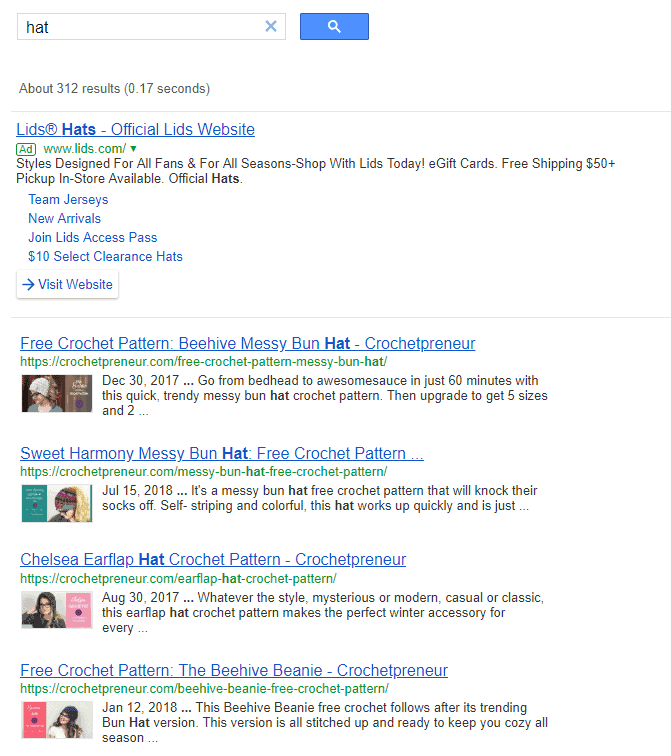 Google Custom Search Engine Sample Screenshot