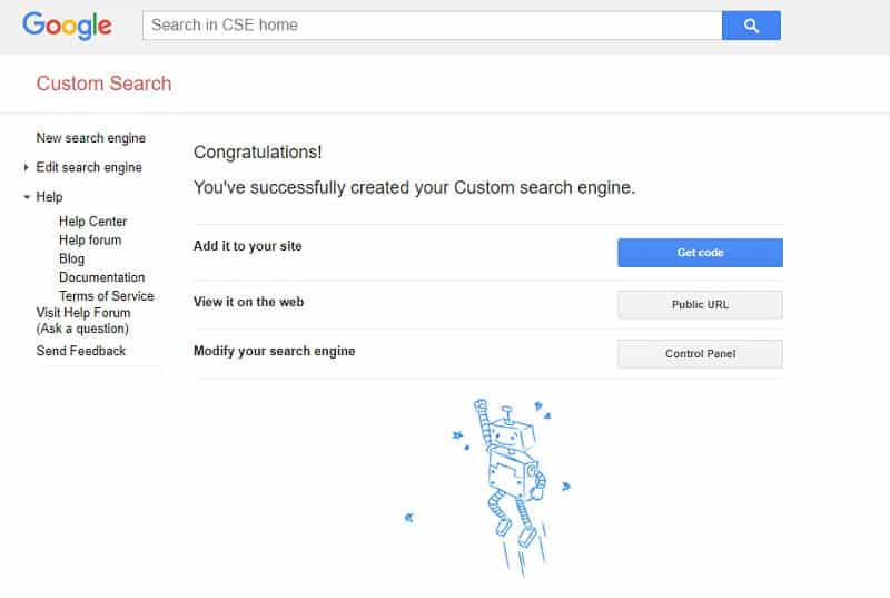 Screenshot for the tutorial on how to make Google Custom Search Engine