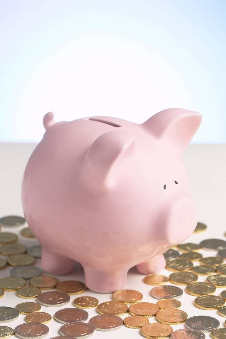 photo of a pink piggy bank surrounded by pennies