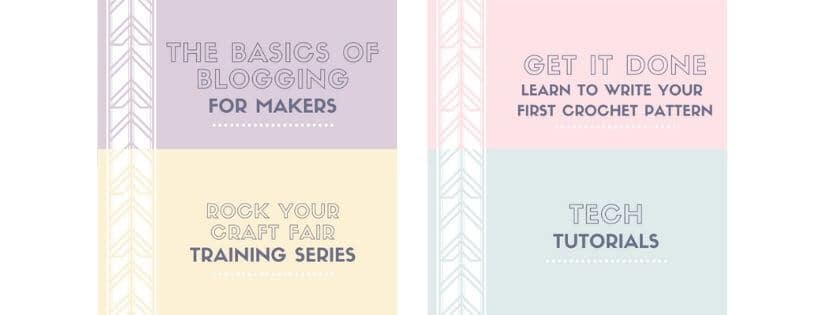 Cover pages for the training courses you will get when you join the Crochetpreneur Business Academy
